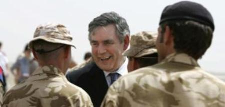 Prime Minister, Gordon Brown Greeting British Soldiers Before The Meeting With Ahmed Karzai.